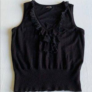 Express Black V-neck Sweater Vest Chiffon Ruffle